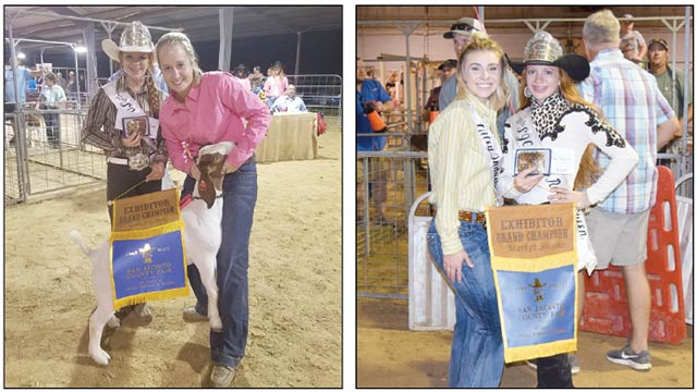 Madison Smith, left, holds her goat as she is pictured with 2016 Rodeo Queen Jacelynn Head. Smith received Grand Champion of the Senior Goat category Tuesday, Sept. 26. at the SJC Fair. Macie Martin, right, is pictured with 2016 Rodeo Queen Jacelynn Head. Martin received Grand Champion overall in the Swine catergory on Wednesday, Sept. 26 at the SJC Fair. (Sabrina Baker Photos)